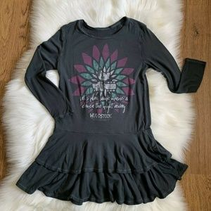 Rowdy Sprout Gray Woodstock Tiered Dress Size 6